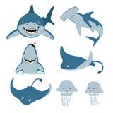 Fototapeta Fototapety na ścianę do pokoju dziecięcego - Set of cute cartoon sea animals. Vector illustration of shark, skate, jellyfish.