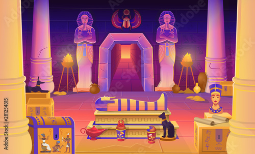 Fotografia Egypt pharaoh tomb with a sarcophagus, chests, statues of the pharaoh with the ankh, a cat figurine, columns and a lamp