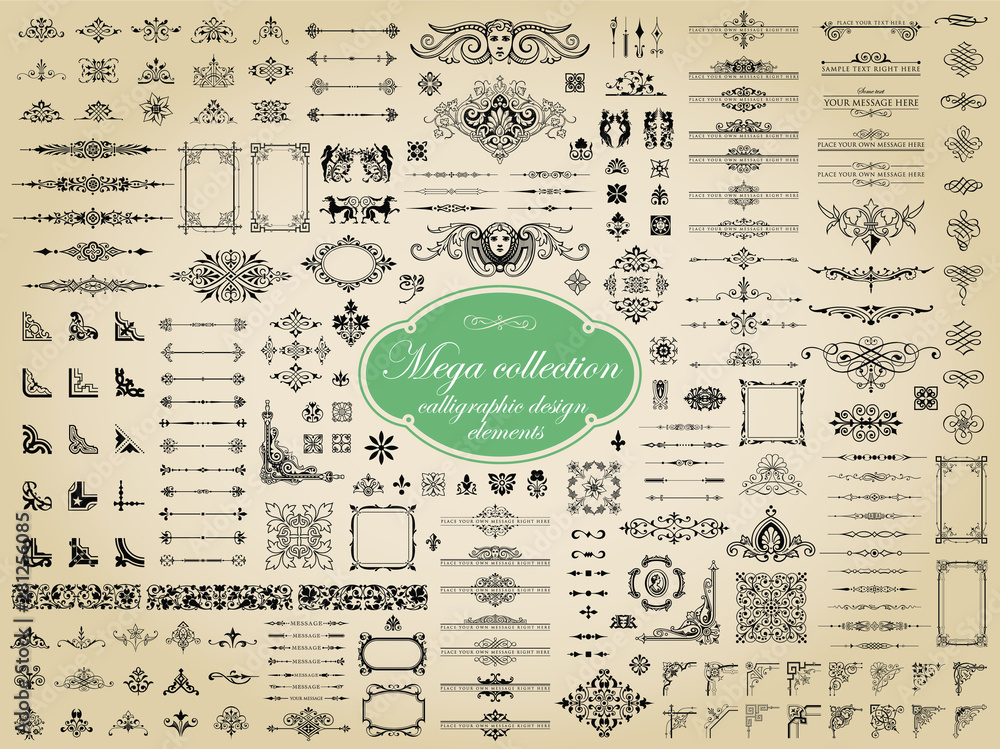 Fototapety, obrazy: Mega collection of vector calligraphic design elements