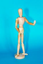 Wooden Yellow Mannequin A Posing And Gesturing Stop