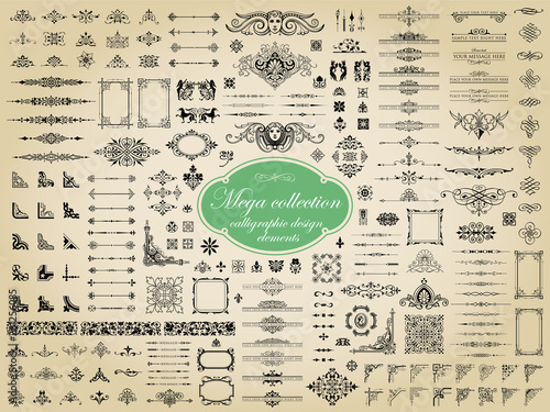 Foto  Mega collection of vector calligraphic design elements
