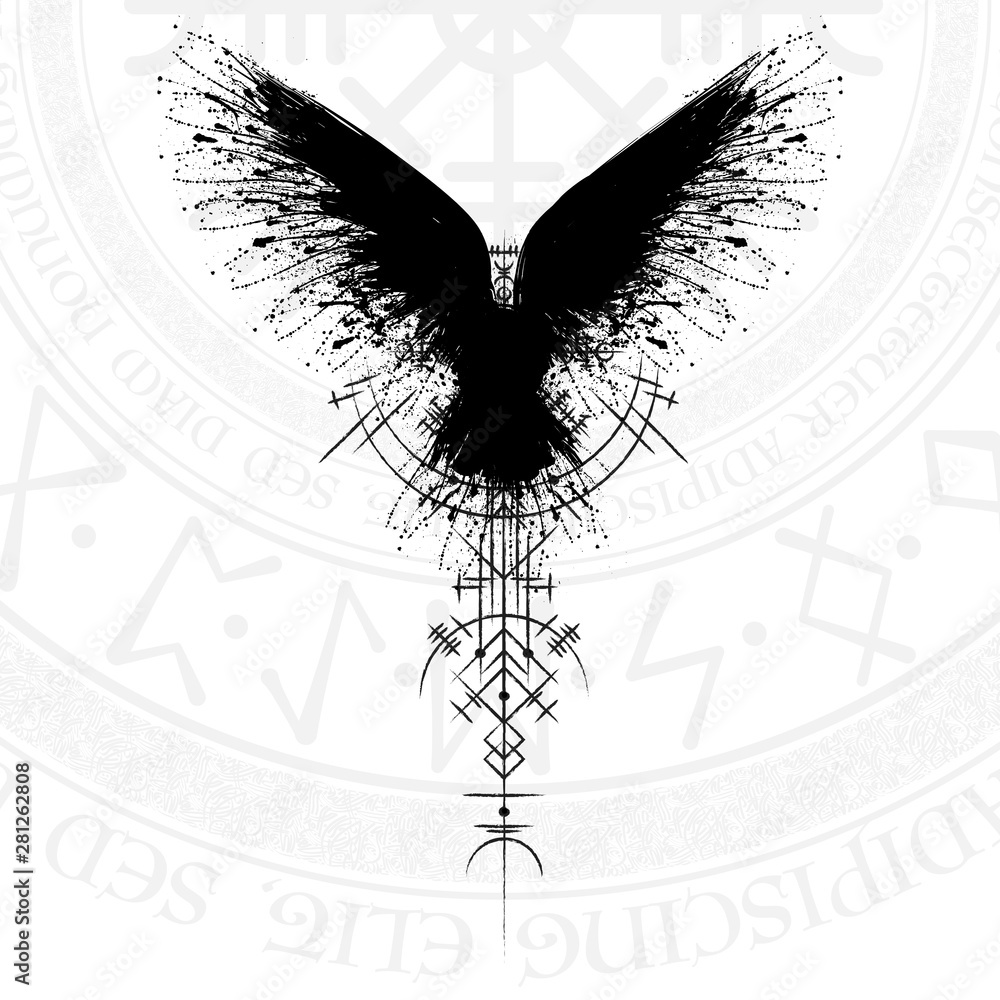Fototapeta Black grunge bird silhouette with viking symbol on white background