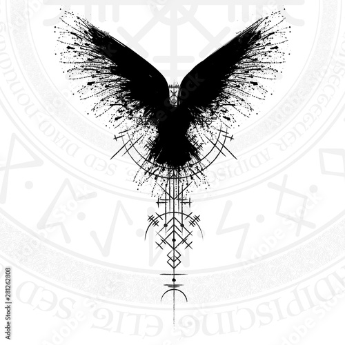 Black grunge bird silhouette with viking symbol on white background Wallpaper Mural