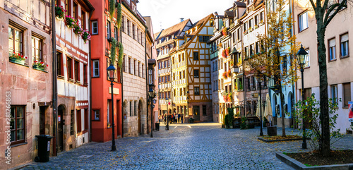 Travel in Germany - charming traditional streets of old town in Nuremberg(Nurnbe Canvas Print