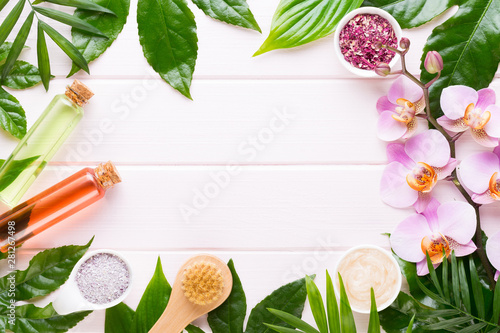 Poster de jardin Fleur Beauty and fashion concept with spa set on pastel rustic wooden background.