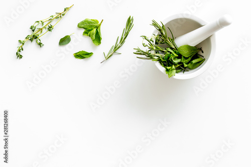 Obraz Alternative medicine with medicinal herbs on white background top view mock up - fototapety do salonu