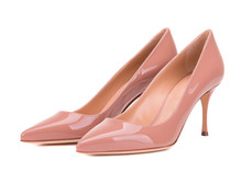 Varnished High-heeled Shoes. Classic Female Shoes Isolate On White Background. Powder-colored Shoes.