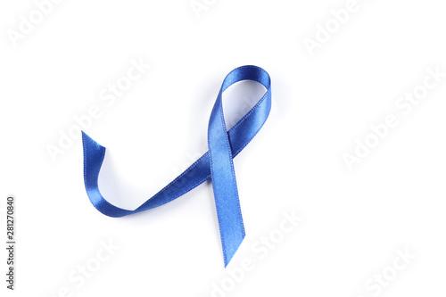 Fényképezés  Blue awareness ribbon isolated on white background