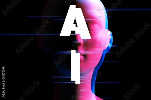 ai robot bionic automatic face, futuristic technology