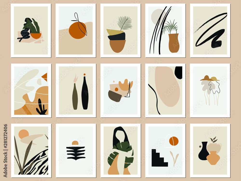 Fototapeta Trendy Printable Abstract Art Prints. Vector Illustrations Bundle. Minimal Terra Posters. Beige, Black and Burnt Orange Prints Set.