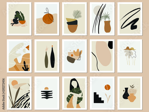 Fototapeta Trendy Printable Abstract Art Prints. Vector Illustrations Bundle. Minimal Terra Posters. Beige, Black and Burnt Orange Prints Set.  obraz