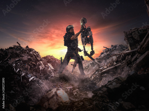 Robotic War ( men vs machines ) - Illustration of an apocalyptic scene of a soldier holding a robot in war Canvas Print