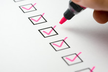 Pink Marking On Checklist Box With Pen, Checklist Concept