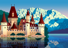 Sunny Day In Austria Near The Medieval Castle, Lake And Mountains In The Background. Handmade Drawing Vector Illustration. Flat Design. Vintage Poster. All Objects Are Grouped By Layers.