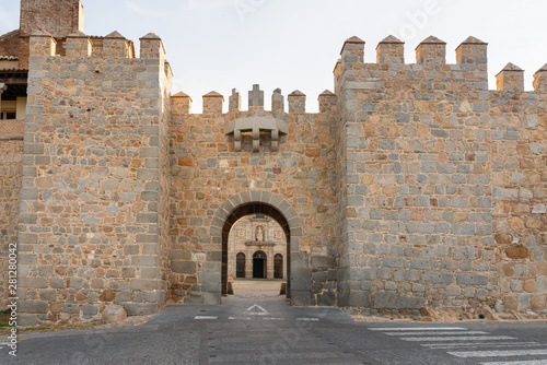 Fototapeta Gate of alazar and Convent of Santa Teresa in Avila, Castilla y Leon, Spain