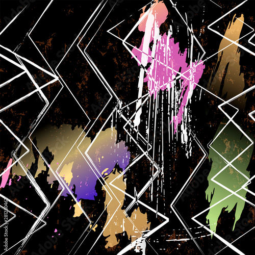 abstract geometric background pattern, with strokes and splashes, zigzag pattern, on black