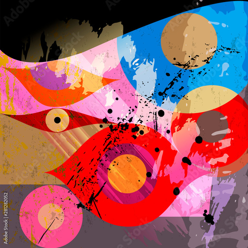 abstract background illustration, with paint strokes, splashes and geometric lines