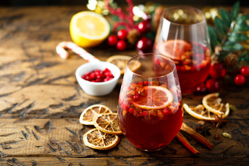 Traditional homemade berry punch with spices