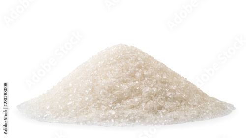 Fotomural  Pile of granulated sugar closeup on a white. Isolated