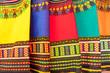 Leinwanddruck Bild Plenty of colorful african fabrics