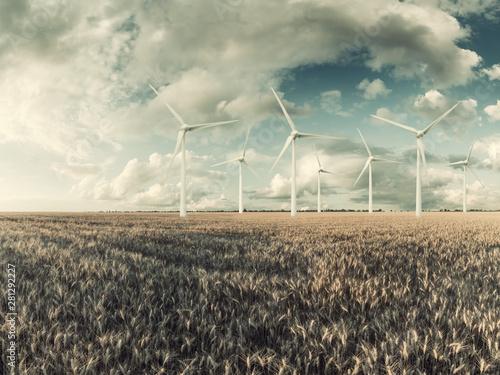 Montage in der Fensternische Blau türkis Wind electric turbines in field
