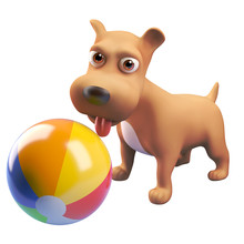 3d Cartoon Puppy Dog Character Playing With A Beach Ball, 3d Illustration