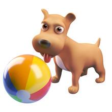 3d Cartoon Puppy Dog Character...