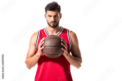 handsome basketball player holding ball Isolated On White Fototapet