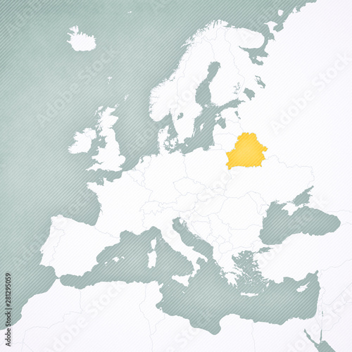Fotografie, Obraz Map of Europe - Belarus