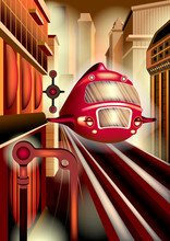 High-speed Train Moving On The Rails And The City Of The Future In The Background. Handmade Drawing Vector Illustration Of A City Street In The Style Of Retro-futurism. Art Deco Poster.