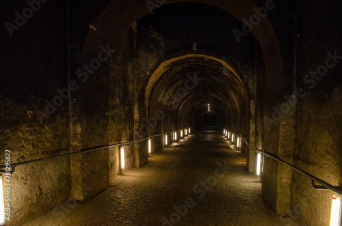 Papiers peints Tunnel Dark spooky underground alley of european vintage building