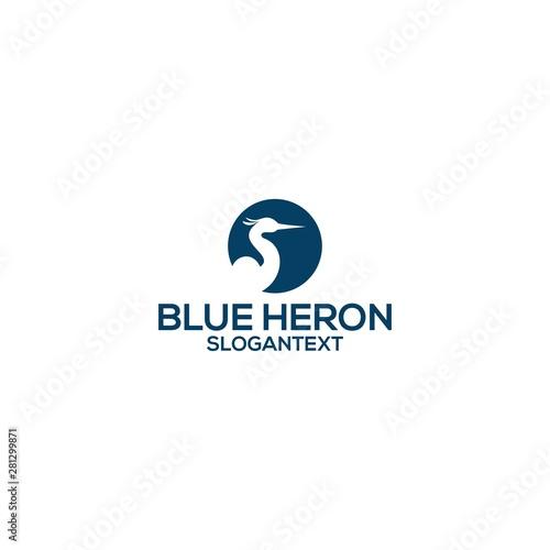 Fotografía blue heron logo concept vector