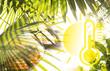 canvas print picture - Helles, sommerliches Composing mit Palmen, Sonnebrille und Grafik eines Thermometers