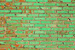 Leinwanddruck Bild - Old brick wall painted with green paint