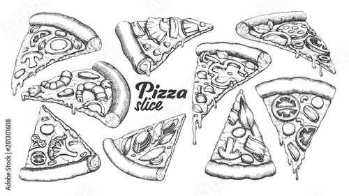 Leinwand Poster Assortment Different Slice Pizza Set Ink Vector