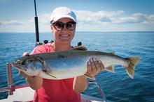 Woman Angler With Nice Arctic Char