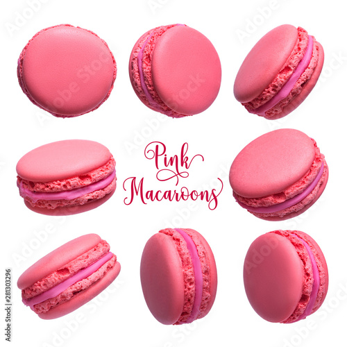 Recess Fitting Macarons Set of pink french macarons cakes isolated on white background