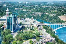 Aerial Scenic Of The Niagara Falls City, Ontario, Canada