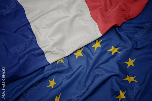 Acrylic Prints Northern Europe waving colorful flag of european union and national flag of france.
