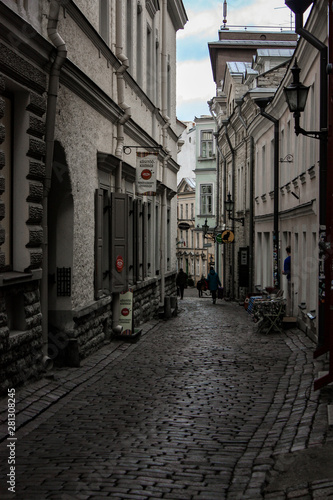 Acrylic Prints Narrow alley street in old town of tallinn estonia