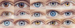 Set collage of people eyes are blue and brown color