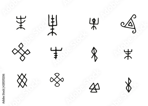 Photo Simple Futhark norse islandic and viking runes set