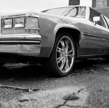 Low Angle Of A Parked Vintage American Car
