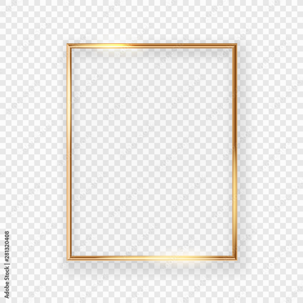 Fototapeta Realistic shining golden picture frame on a wall. Vector illustration Isolated on transparent background