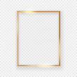 canvas print picture - Realistic shining golden picture frame on a wall. Vector illustration Isolated on transparent background