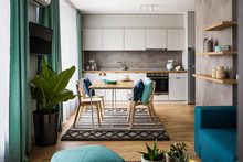 Cozy Kitchen And Dining Room In Contemporary Interior