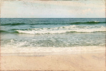 Vintage Weathered Beach Postcard