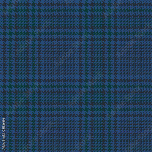 Blue glen check seamless pattern with green and black stripes Wallpaper Mural