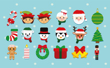 Vector Cartoon Cute Christmas Set Isolated