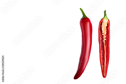 Foto op Aluminium Hot chili peppers Seamless pattern with red hot chili peppers. Vegetables abstract background. Food collage, slicing hot red chili peppers Red hot chili peppers on a white background.